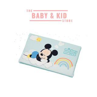 [SG SELLER] [READY STOCKS] Baby / Kids Natural Latex Flat Pillow   with Baby Disney velvet pillow case - BLUE Baby Mickey w/ rainbow