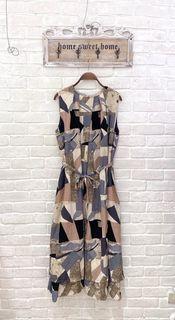 (全新)日單彩色幾何圖形無袖洋裝