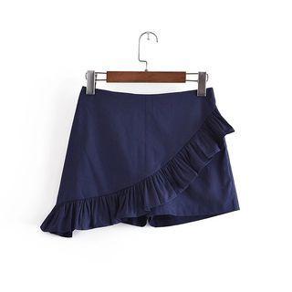 🔴高腰短款純色不規則荷葉邊短褲裙