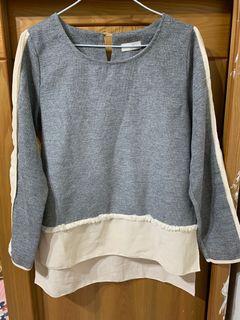 韓版 袖子拼接設計 前短後長 小香風 長袖 #東京