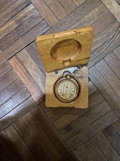 Antique Quartz Wooden Pocketwatch