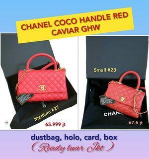 CHANEL COCO HANDLE MEDIUM RED CAVIAR GHW