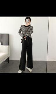 Knit set long sleeves stripes black