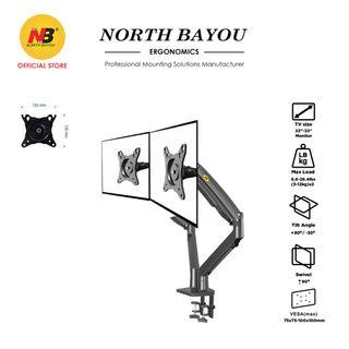 NB North Bayou Dual Monitor Desk Mount Stand Full Motion Swivel Computer Monitor Arm fits 2 Screens up to 32'' 19.8lbs Each Monitor (Black) F195A-B