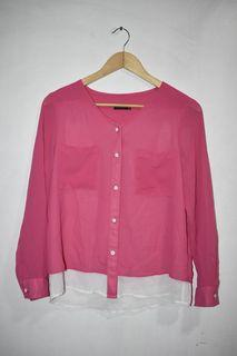SM Woman Career Pink Chiffon Button Up Longsleeves Blouse in Medium