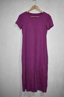 Small Purple Plain Dress with Bra Pads