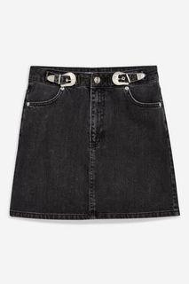 Topshop Denim Gray Skirt