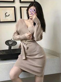 V領性感美背綁帶針織洋裝