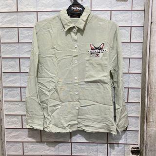 [Vanisimo] Kemeja Hijau Kucing (Mint Green Cat Shirt)