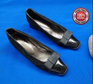 Vero Cuoio Leather-Suede shoes Block Low Flats Black Size 38