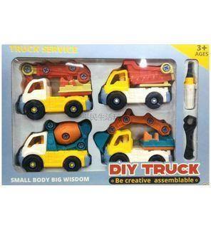 益智拆裝工程車(4入) 趣味DIY 螺絲拆卸玩具 挖土車玩具 組裝車車 卡通工程車 小年齡兒童 吊車 運載車 挖土車 水泥車