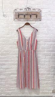 (全新)日單度假風後綁帶貝殼釦棉麻無袖洋裝(兩色可選)