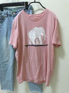 長版粉紅色大象上衣