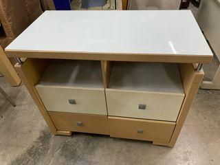 大慶二手家具 白橡四抽收納櫃(含玻)/餐櫃/收納櫃/置物櫃/書櫃/鞋櫃