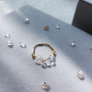 韋薇牌手作飾品- | 黃銅 玻璃珠 |串串鍊戒Ω 黃銅戒指