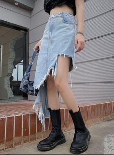 街頭風不對稱牛仔長裙 街頭穿搭撕破牛仔裙 高腰牛仔短裙 牛仔破裙 破壞感長裙 喪系穿搭 性冷淡風 OT319