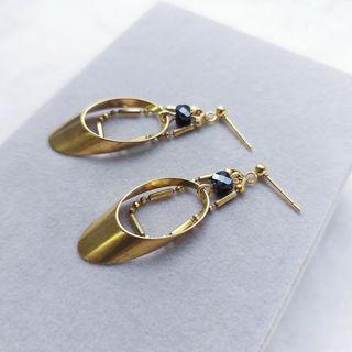 韋薇牌手作飾品- | 黃銅 黑曜石 | 克麗奧佩特拉VII 黃銅耳環