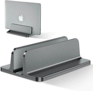 Basegard  Vertical Laptop Stand CNC-Machined Cut Finishing Adjustable Size Solid Aluminum Alloy Adjustable Laptop Holder, Saving Space, Suitable for MacBook Pro/Air, iPad, Samsung, Huawei, Surface, Dell, HP, Lenovo and Others (Gray)