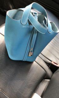 (SoLD 7/20) Full Set 送內袋Hermes Picotin 18 🏝 Bleu Jeans T stamp