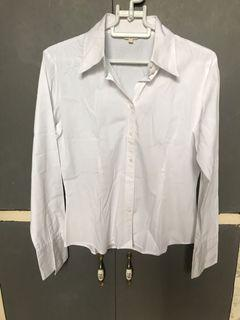 G2000 Formal white collared longsleeve top