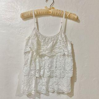 Gilly Hicks White Lace Layers Top
