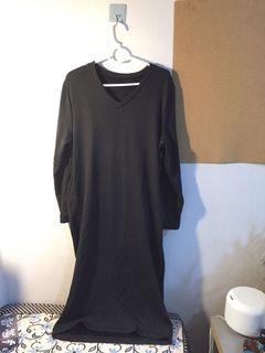 New黑色 加厚長衛衣 裙