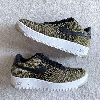 nike air force 1 fly knit warriors multicolour yellow sneakers