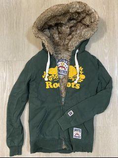 《Roots》正品厚刷毛保暖外套 綠 女XS
