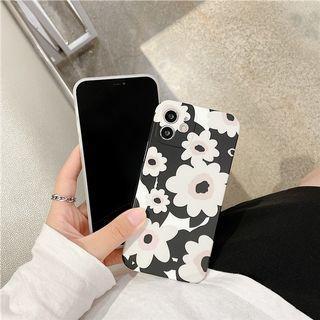 (SH)IPhone殼SE2/7/8/P/XS/R/11/12/Mini/Pro/Max : 黑色復古花