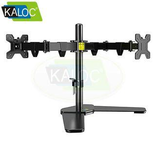 """KALOC DW220T 17""""-27"""" Flexibls Monitor Desk Stand  Dual Monitor  Free Standing Desktop Mount Height Adjustable Full Motion Two Arm  Hold Up To 9kg Each Arm"""