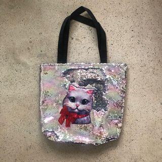 Totebag kucing sequins, tas shoulder bag lucu