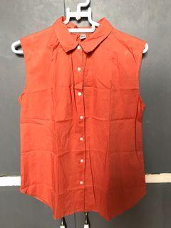 Uniqlo Burnt Orange Sleeveless Collared Top