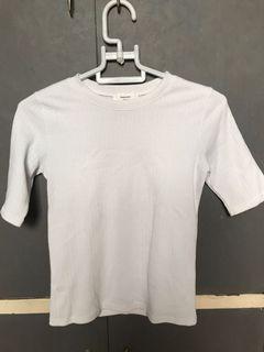 White Textured Basic Top