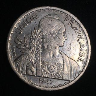 1947 French Indochina 1 Piastre