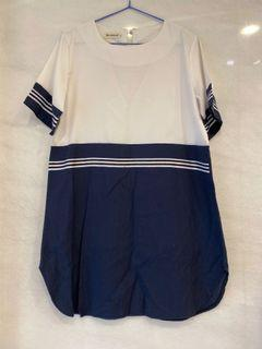 藍白拼接休閒洋裝#東京