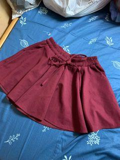 酒紅褲裙 短褲裙 有口袋