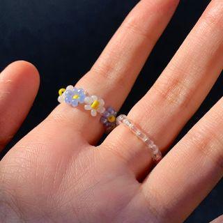 鄉間小花串珠戒指✿ 手作戒指 花花戒指