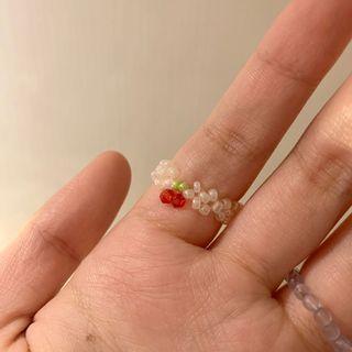櫻桃串珠戒指 手工串珠戒指 🍒