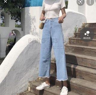 牛仔寬褲 牛仔褲 寬褲  高腰牛仔褲