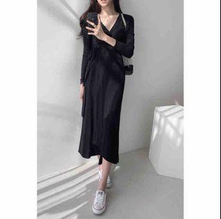黑色 綁帶 洋裝 長洋裝 長裙