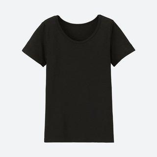 二手 UNIQLO AIRism 科技太空衣 男 L 圓領 黑色 短袖 T恤