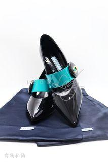 ICONLADY PINK- PRADA 黑色/綠色漆皮 高跟鞋 (SIZE : EUR 36)