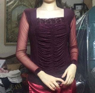 Lace Mesh Maroon Top