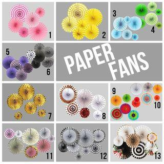 Paper Fans Happy Birthday Wedding Backdrop Party Needs