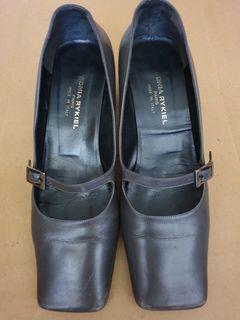 SONIA RYKIEL 鐵灰色粗跟鞋