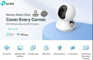 Tp-Link Tapo C210 (3 MegaPixel) Pan/Tilt Home Security Wi-Fi Camera with Local Warranty