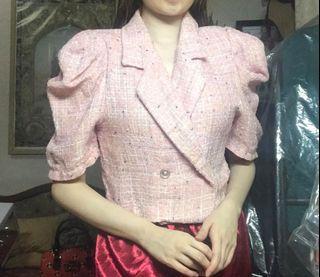 Tweed Pink Cropped blazer