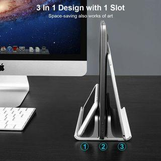 """Vaydeer Vertical Notebook Stand Vertical Laptop Stand, Single MacBook Stand for Desk with Upgraded Version Adjustable Dock Size, Anodized Aluminum Made Laptop Holder Compatible with All Laptops, MacBook & More (up to 17.3"""")"""
