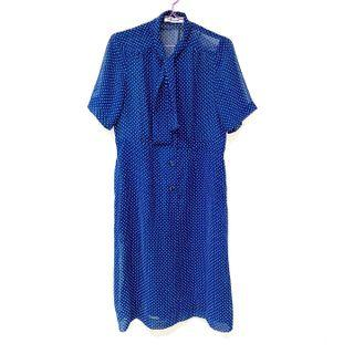 Vintage ::: 古著深藍白點點造型領透膚雪紡洋裝