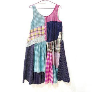 Vintage ::: 古著可愛日系格紋拼接造型背心洋裝⚡️A Prank Dolly